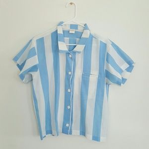 vintage | blue and white striped courier shirt